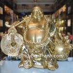 Tượng phật Di Lặc ban tài phước bột đá mạ vàng Y105