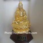 Tượng Phật Quan Âm thượng thiện bột đá màu đế gỗ Y147