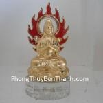 Tượng Phật Quan Âm bảo chiếu bột đá đế thủy tinh Y154