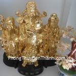 Bộ tượng Phước Lộc Thọ bột đá mạng vàng non đế gỗ tài lộc Y139