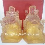 Cặp tượng Thần tài thổ địa bột đá màu Quảng Đông B076