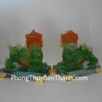 Cặp Tỳ hưu phong thủy bột đá màu đế thủy tinh vạn sự như ý Y015